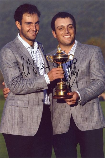 Edoardo & Francesco Molinari, signed 12x8 inch photo.